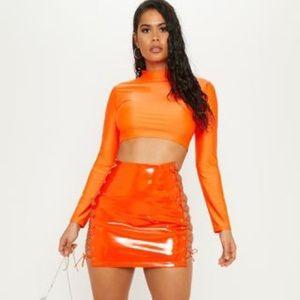 Neon Orange PrettyLittleThing Lace-up Skirt